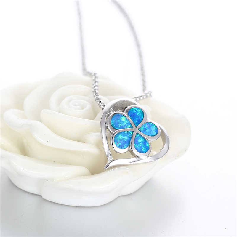 新しいデザインフラワーブルーオパール宝石925スターリングシルバーペンダントネックレス熱い販売ジュエリーペンダント女性gwジュエリーFP336H80