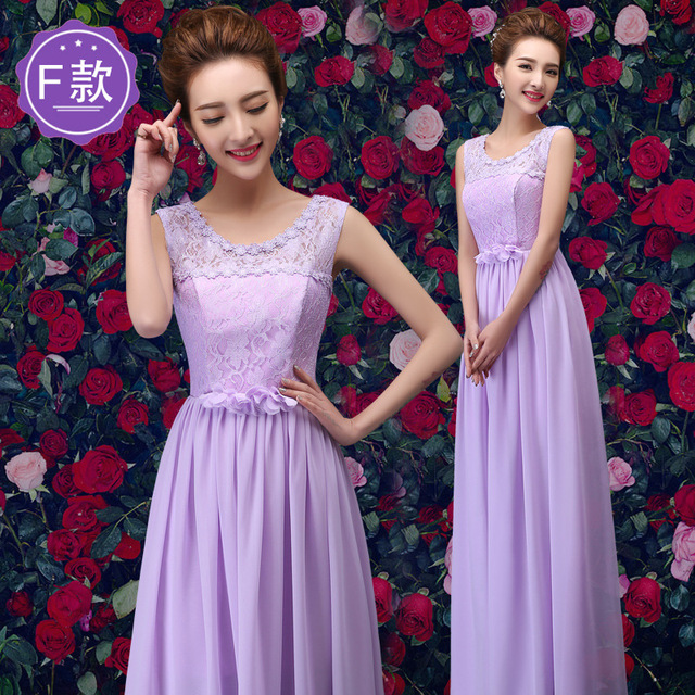 LAKD0306Y Purple round Strapless lace up new spring summer 2017 bridesmaid  dresses long bride wedding toast dress wholesale 37b710c4a86c