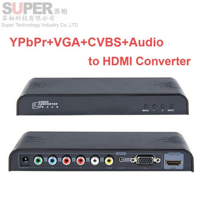 LKV353 video conveter YPbPr+VGA+CVBS+Audio to HDMI Converter VGA CVBS YPbPr to HDMI Converter video audio Adapter