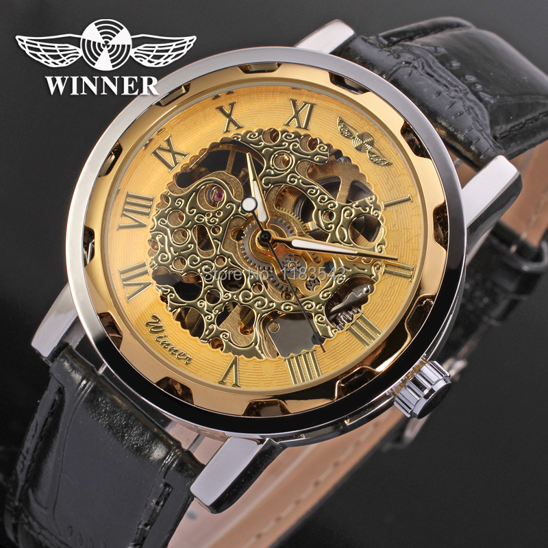 winner watch mechanical watch for men black leather band free shipping WRG8008M3T1