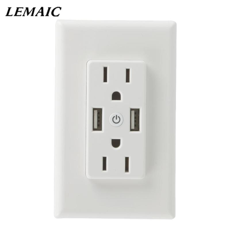 WiFi Smart Socket Smart Wall Plug 2 AC Outlets 2 USB Output App Remote Control Appliances Work With Smart Alexa Google Home