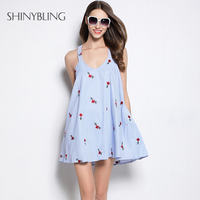 2017 Summer Party Dresses Women Fashion Floral Embroidered Blue Stripe Sexy Sleeveless Dress For Ladies Holiday
