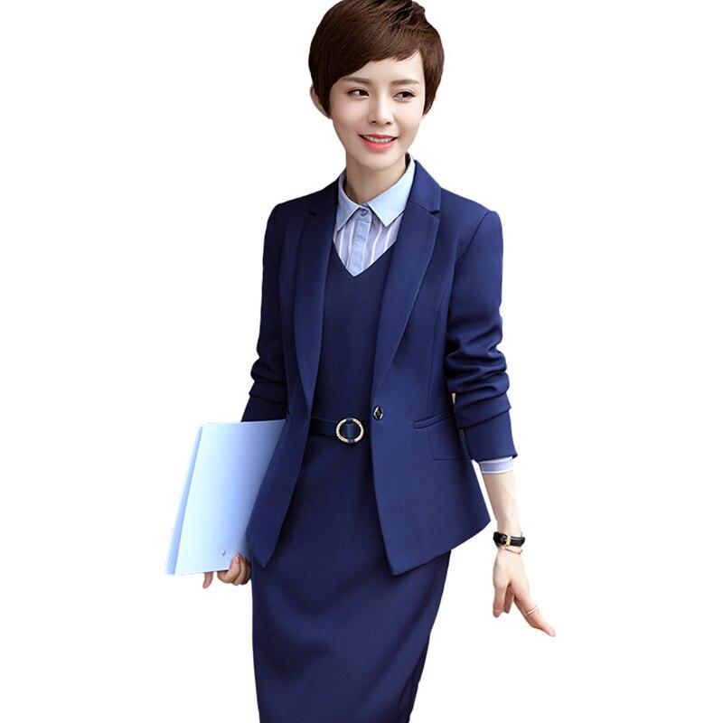 3 picees комплект платье костюм модные деловые узкие длинные рукава блейзер с Платья офи ...