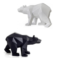 Simple White Black Abstract Geometric Polar Bears Sculpture Ornaments Modern Bear Home Decorations Accessories Crafts Statue