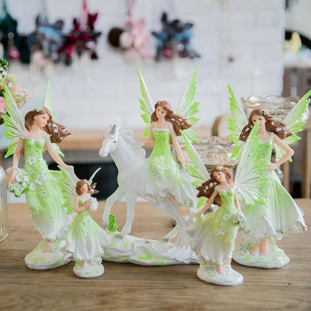 Unicorn Horn Fairy Angel Figurines Lovely Girl Flower Fairy Statue  5