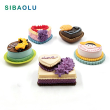 1pc Lovely Birthday Cake Model Simulation Food Miniature Figurine DIY House Accessories Doll home Decoration plastic resin craft