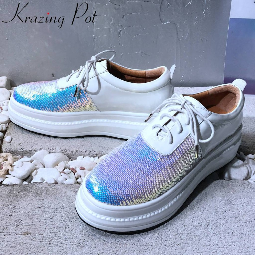 Krazing Pot nouveau paillettes couleurs mélangées chaussures à lacets en cuir véritable style concis baskets bout rond tenue décontracté chaussures vulcanisées L18-in Chaussures vulcanisées femme from Chaussures    1