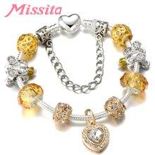 MISSITA Love Heart Series Crystal Heart Pattern Pendant Bracelet for Women Silver Jewelry Brand Anniversary Gift Hot Sale classic heart pattern bracelet for women