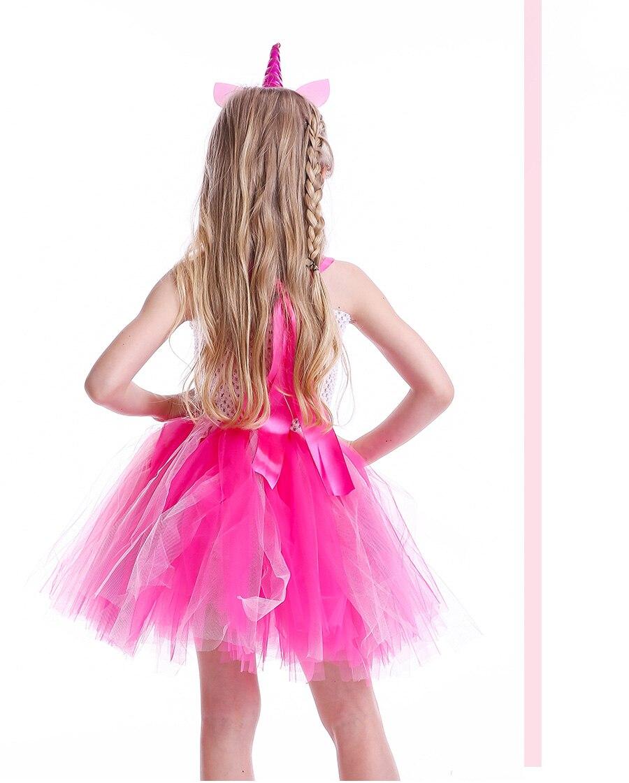 Girls Rainbow Tutu Dress with Unicorn Headband Children Princess Fancy Party Dress Christmas Halloween Kids Pony Costume (6)
