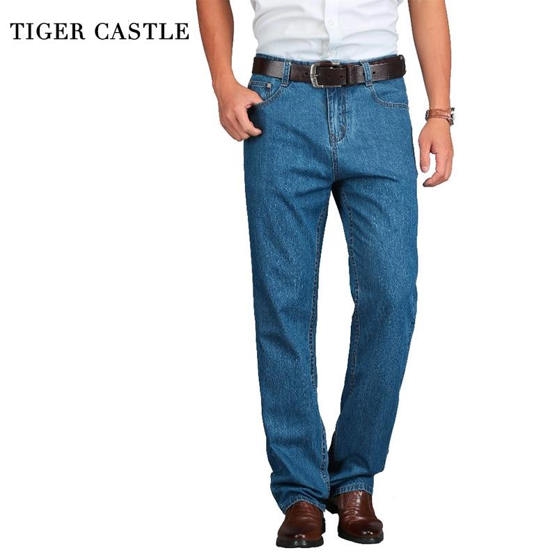 TIGER CASTLE 100% Cotton Summer Men Classic Blue Jeans Straight Long Denim Pants Middle-aged Male Quality Lightweight Jeans 2017 new designer korea men s jeans slim fit classic denim jeans pants straight trousers leg blue big size 30 34