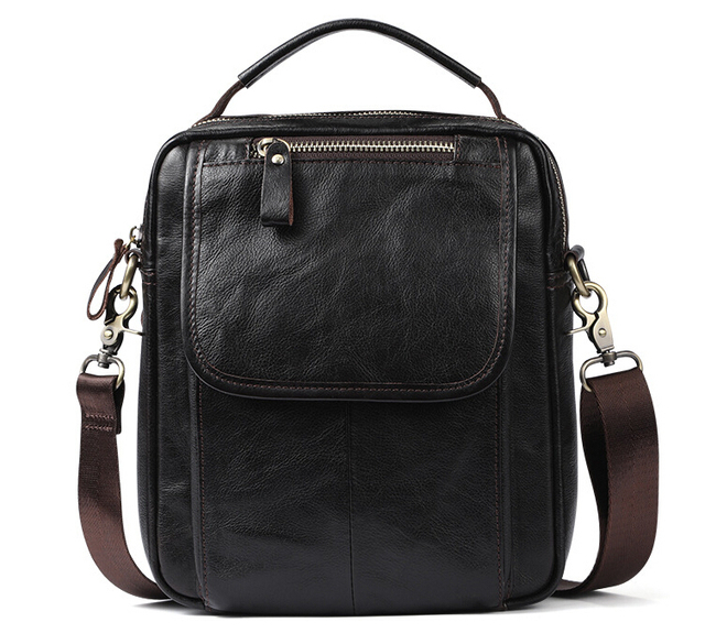 Real leather men's single shoulder/cross-body bag top layer cowhide waxy leather men's bag.pinepoxp bag