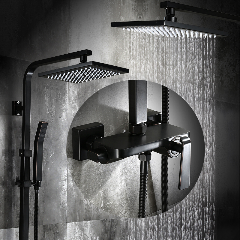Bathroom Black Oil Paint Solid Brass Bathtub Shower Set Wall Mounted 8 Rainfall Shower Mixer Tap Faucet 3-functions Mixer Valve