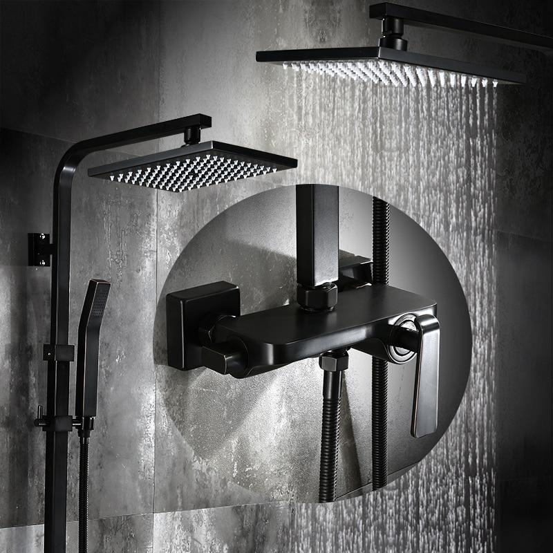 Bathroom Black Oil Paint Solid Brass Bathtub Shower Set Wall Mounted 8 Rainfall Shower Mixer Tap Faucet 3-functions Mixer Valve