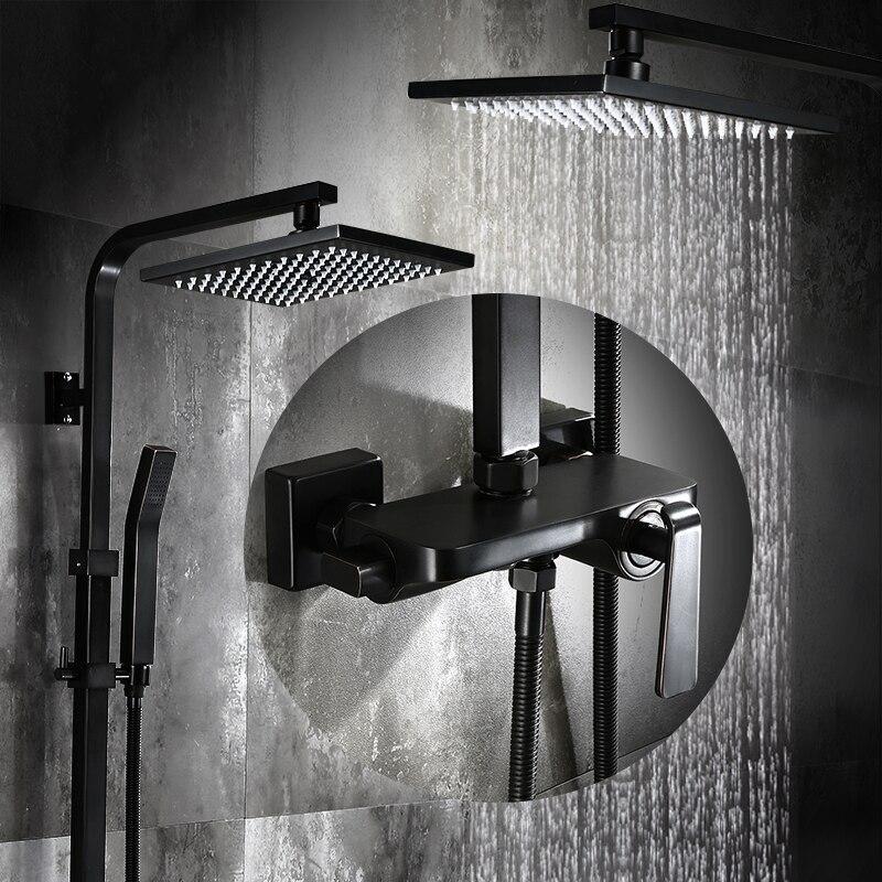 Salle de bains Noir Peinture À L'huile En Laiton Massif Baignoire Douche Set Mur 8 Précipitations Douche Mitigeur Robinet 3- fonctions Mélangeur Valve