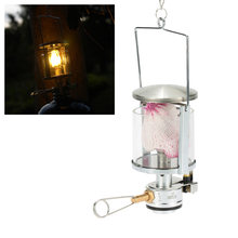 Mini Portable Camping Lantern Gas Light Tent Lamp Torch Hanging Glass Lamp Chimney with Butane as Fuel 60LUX(China)