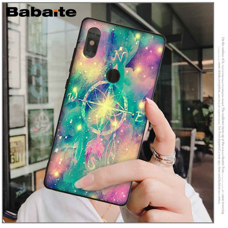 Babaite Sapphire สี Feather แก้ว Mandala โทรศัพท์กรณีสำหรับ Xiao mi mi 6 8 8 SE หมายเหตุ 3 mi Note 3 mi x 2 2 วินาที Res mi 5 Coque Shell