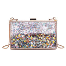 Women Fashion Transparent Sequins Clutch Purse Evening Bag Handbag For Party Prom Bride