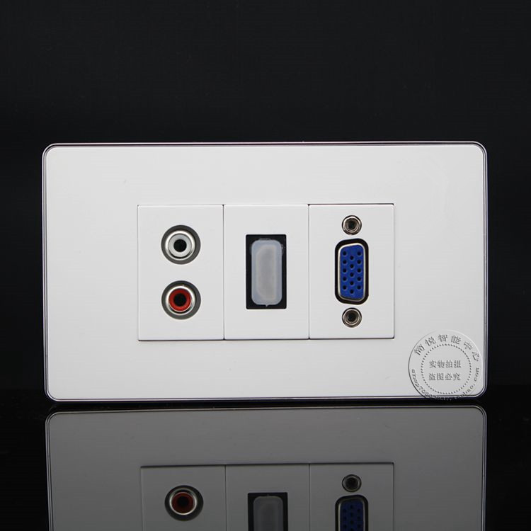 120MM Wall Face Plate RCA AV + HDMI + VGA Socket Outlet Assorted Panel Covers Faceplate wall face plate rca av audio tv jack outlet socket assorted panel faceplate