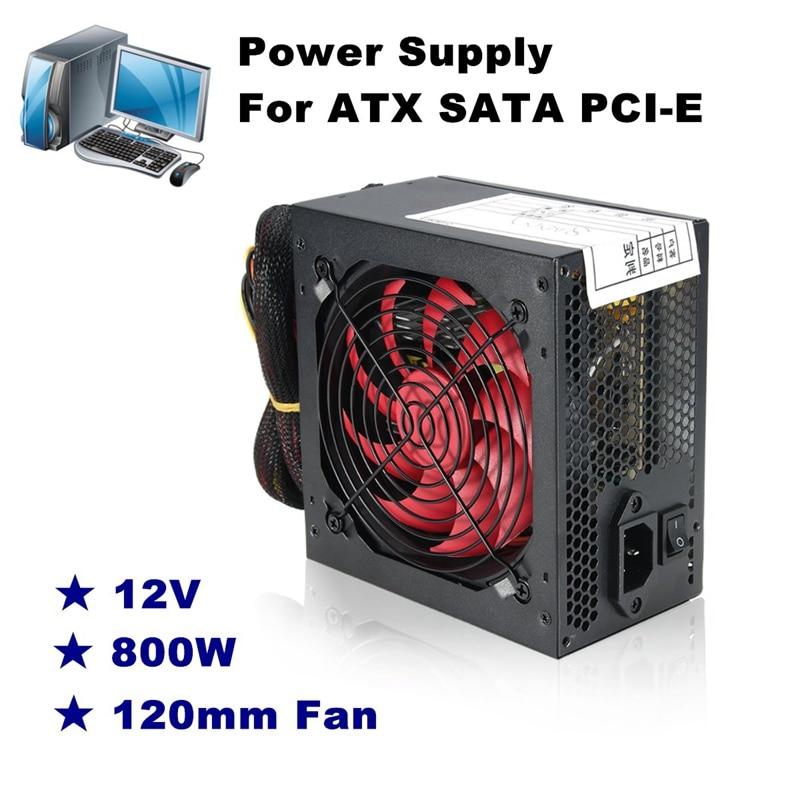 Silencieux 800 Watt 800 W pour Intel AMD PC 12 V ATX PC alimentation SLI PCI-E 12 CM ventilateur haute qualité ordinateur alimentation pour BTC