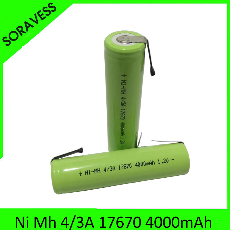 2-10pcs 4/3A 1.2V Rechargeable Battery 4000mah 7/5A 17670 17650 Ni-Mh Nimh Cell With Welding Pins For Electric Shaver Toothbrush