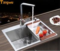 Free shipping manual single groove vegetable washing basin pots 304 stainless steel Kitchen Sinks