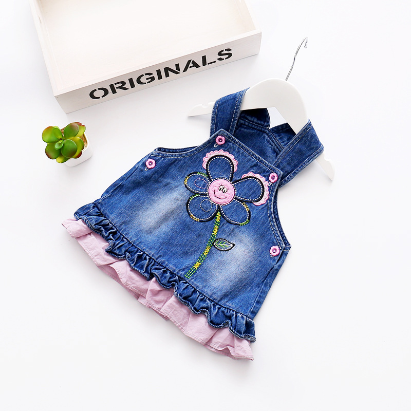 4e338f1892f2 2017 Spring Baby Girls Jeans Dress Floral Embroidered Ruffles ...