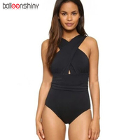 BalleenShiny 2017 Black Red Sexy Cross Halter Women Swimwear One Piece Swimsuit Solid Bathing Suit BeachWear