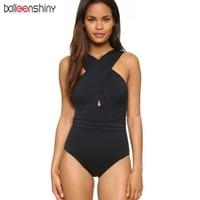 BalleenShiny 2017 Black Red Sexy Cross Halter Women Swimwear One Piece Swimsuit Solid Bathing Suit BeachWear