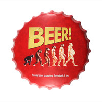 Beer! Honour your ancestors they drank it too. 40cm Beer Bottle Cap Decorative Metal Tin Plate Plaque House Bar Pub wall decor