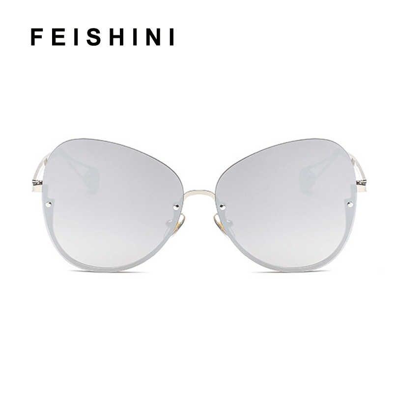 FEISHINI olhos de Gato Transparente Óculos De Sol Das Mulheres de Grandes Dimensões Limpar Lens Lady Oculos de sol Óculos de Sol Sem Aro Enquadrar Nova Chegada