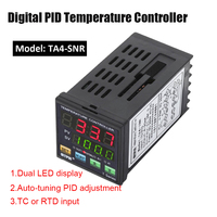 TA4 SNR Temperature Controller Dual Digital F/C PID Thermostat SSR Control Output Alarm