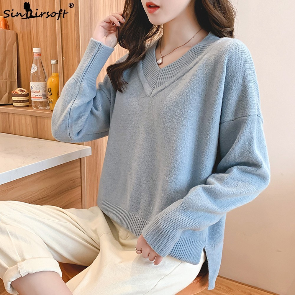 Fashion V neck Autumn New Listing Women 39 s Sweater Long sleeved Loose Pullover Casual Soft Comfortable Sweater Hot Shirt Women in Pullovers from Women 39 s Clothing