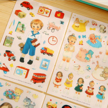 6sheets/pack Kawaii Cartoon Girl New Doll Mate Paper/PVC Stickers Decoration DIY Diary Note Label Multifunction Student Gift