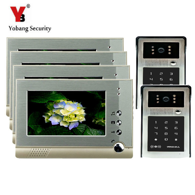 YobangSecurity 7 Inch Wired Video Intercom Doorbell System Video Door Phone DoorBell Intercom Kits IR 2 Camera 4 Monitor door intercom video cam doorbell door bell with 4 inch tft color monitor 1200tvl camera