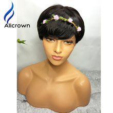 Alicrown 10A Short Lace Wig With Bangs Virgin Full Lace Short Human Hair Bob Wigs For Black Women Full Lace Wig None Lace Wigs