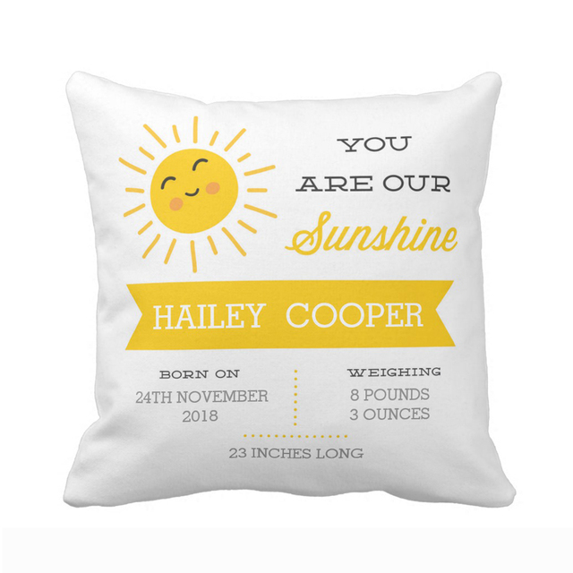 Customized You Are Our Sunshine Baby Nursery Birth Stats Throw Pillow Cover Home Decorative Cotton Polyester
