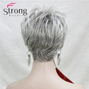 Image 4 - Strongbeauty curto em camadas cinza prata shag clássico boné peruca sintética completa