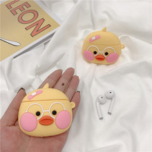 For AirPods 2 Case Cute 3D Cartoon Duck Earphone Apple Airpods Soft Silicone Protect Cover Funda