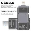 Capacidad verdadera del Usb Flash Drive 64 GB 32 GB OTG pen drive metal pendrive usb 3.0 para iphone/ipod/ipad/pc 16 gb 8 gb de alta velocidad flash