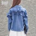 Mujeres de la chaqueta de mezclilla azul de la vendimia primavera ruffles short abrigo veste cuir femme abrigos mujer croped LT412 feminino ENVÍO LIBRE