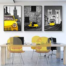 Abstract Minimalism Pictures Yellow City Wall Art Taxi Motor Art Print Poster Nordic Retro Canvas Painting Kids Room Home Decor(China)