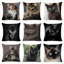 Black Cat Cushion Cover Cotton Linen Square Cat Pillow Case Decorative Pillow Cover for Home Car Sofa Decora Pillowcase cojines cat print pillowcase cover