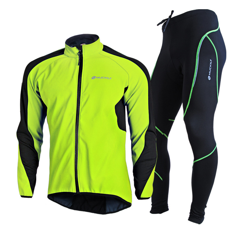 NUCKILY 2016 Cycling Jacket Set Winter font b Men b font Ropa Ciclismo Maillot Male Bicycle