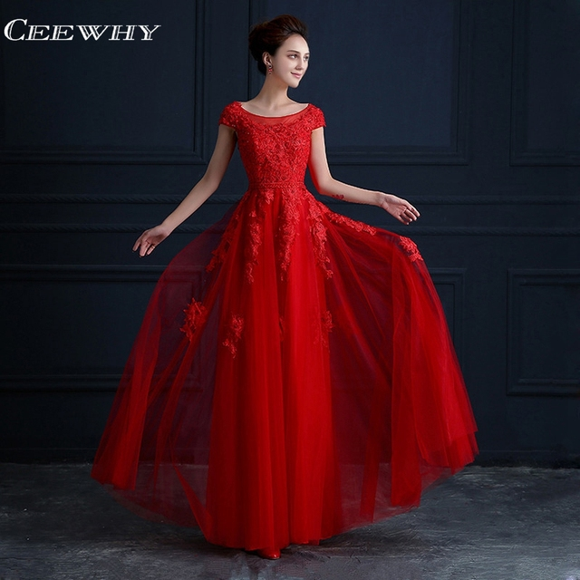 CEEWHY Vestido de Festa Chinese Style Embroidery Vintage Formal Dress  Elegant Wedding Party Dresses Long Red Bridesmaid Dresses 89cce411c5f0