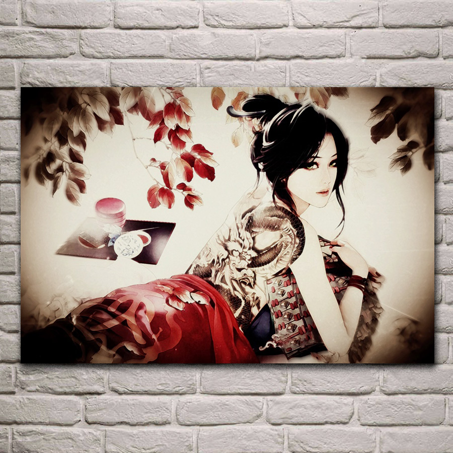 Asian Girl Tattoo Poster Photo  Warrior Lady Beautiful Picture Print