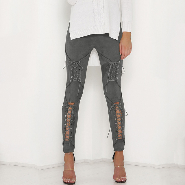 New Suede Leather Pencil Pants Lace Up Cut Out Fashion Trousers For Women Sexy Bandage Legging Pants Lace-Up Women's Pants 3