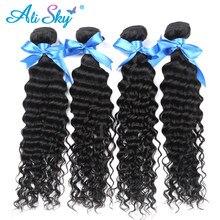 Alisky-mechones de cabello brasileño Remy, extensiones de cabello humano rizado profundo, mechones de cabello Natural, extensiones de cabello humano mechones de 1/3/4 mechones