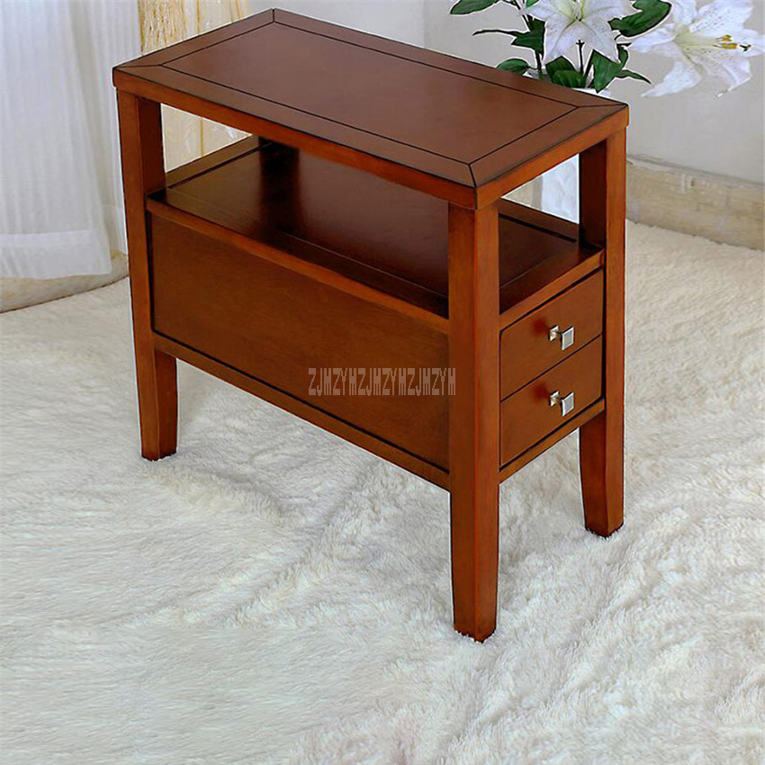 TS-380 Simple Sofa Side Table 2-Drawer Tea Table Living Room Coffee Table Bedroom End Table Sofa Side Cabinet Bedside Table