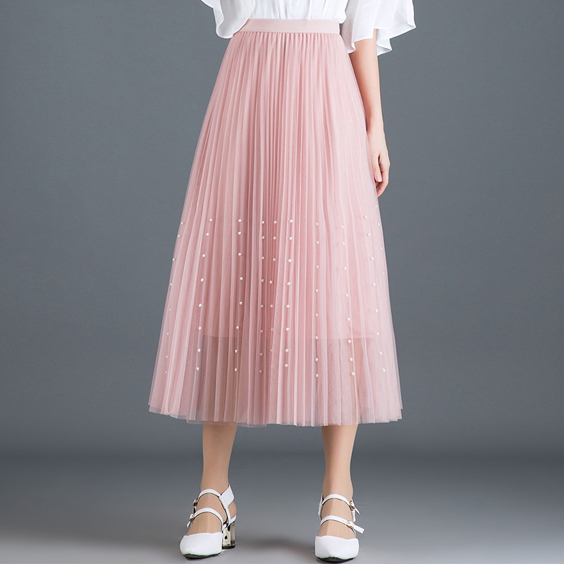 New 2019 Spring Summer Skirts Womens Beading Mesh Tulle Skirt Women Elastic High Waist A Line Mid Calf Midi Long Pleated Skirt 30