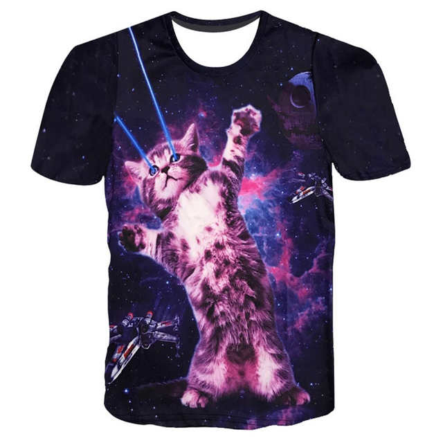 87784eb0a1f6e US $10.39 20% OFF|SOSHIRL Muffin Cats 3D Print T Shirts Women/Men's Top  Galaxy Space Pizza Kitty/Laser Cat Funny T Shirt Custom Tops Hipster  Tees-in ...
